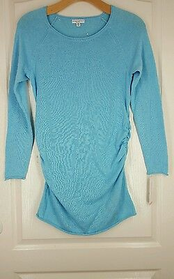 NEW TAGS LIZ LANGE MATERNITY Sweater MED Turquoise Lightweight Cotton Poly