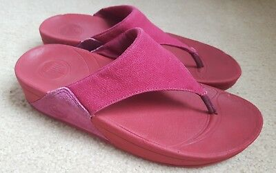 Fitflop Size 7 Red canvas suede Thong Flip Flop Sandals Shoes