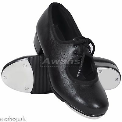 Tap Dance Shoes, With Laces, Pure Leather, Black, Slim Fit