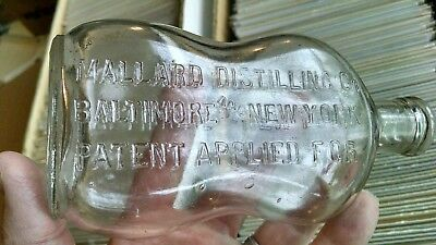 ODD SHAPED Whiskey Flask MALLARD DISTILLING CO PATENT APPLIED FOR BALTIMORE & NY