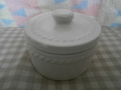 White pottery lidded dish