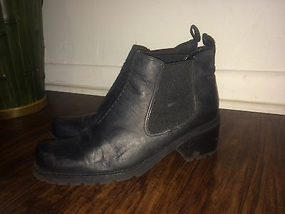 Franco Sarto Black Leather Ankle Boots Booties Women's Size 7.5M