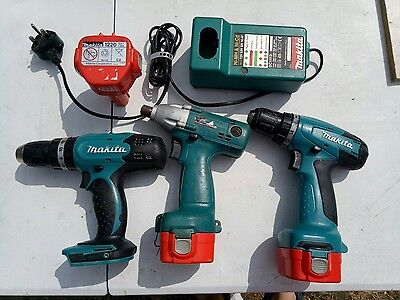 2 MAKITA drills and 1 MAKITA screwdriver drill