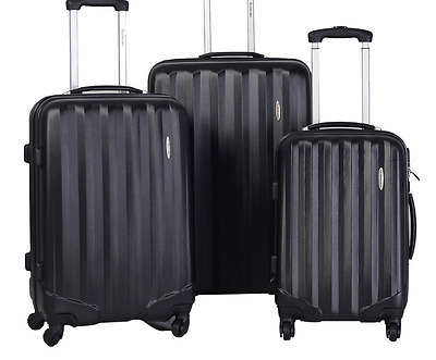 New Goplus 3Pcs Rolling Luggage Travel Set Bag ABS Trolley Carry Suitcase Black