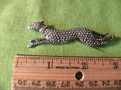 Petite Vintage Silver & Marcasite Whippet or Greyhound Dog Pin Brooch