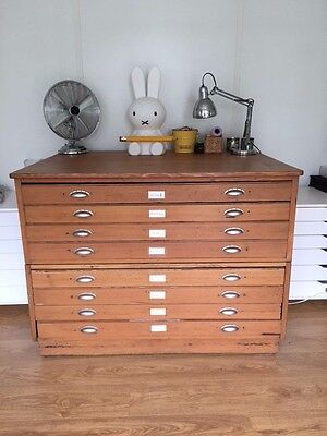 Vintage plans chest architects drawers