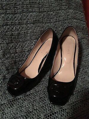 Women's Nickels Black Patent High Heel Shoes Peek Toe Size 8.5M