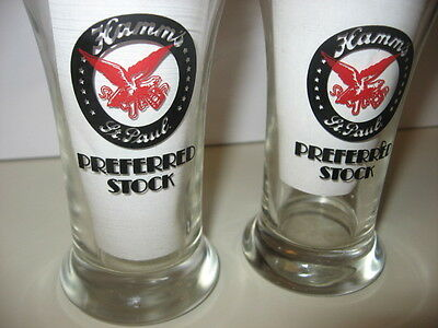 2 LOT Hamm's St. Paul Preferred Stock Beer Glasses 10 oz Bar Red Eagle Man Cave