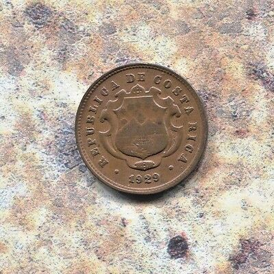 Costa Rica - Beautiful Historical Bronze 10 Centimos, 1929 (P) Gcr, Km# 170