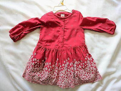 BABY GAP Lined Red Floral Dress Size 18-24 months, 100% Cotton Girl Toddler