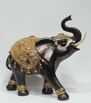 Feng Shui Elephant Mosaic Statue Trunk Up Lucky Wealth Tusk Gold Home Decor New
