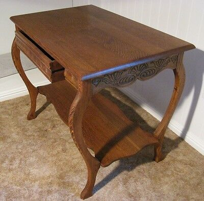 Vintage Antique Library Table Desk Quarter Sawn Oak Larkin Desk