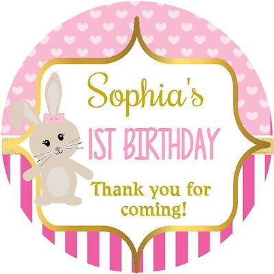 Personalised Pink Bunny Gloss Christening Shower 1St Birthday Stickers 4 Sizes