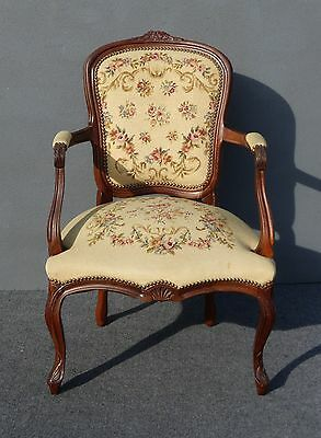 Vintage French Provincial Style Carved TAPESTRY Floral Design Accent CHAIR