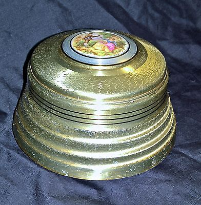 VINTAGE Music Box SILVER tone ~ RING BOX with porcelain inset on the top