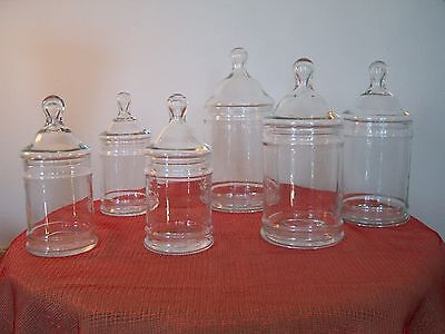 6 Vintage Glass Apothecary Candy Jars Wedding Shower Party's Candy Bar Display