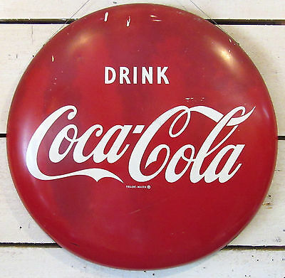 "Coca Cola Button Sign - Vintage 24"" Metal Drink Coke - Original 1950s Soda Gas"