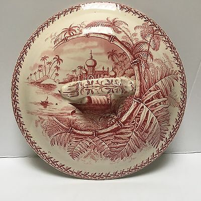 Large Red and White Transferware Ironstone Lid Only W&Co Bombay Hanley