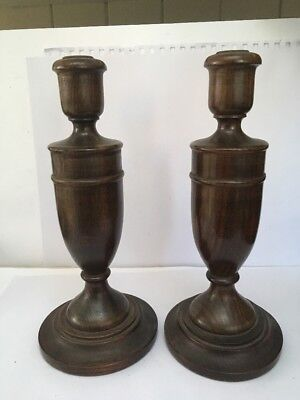 Pair Of Quality Vintage Wooden Candlesticks Oak ?