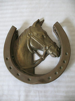Vintage Brass Equestrian Door Knocker Horse Head Bridle and Lucky Horse Shoe