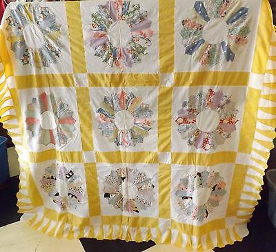 "Vintage Antique Hand Stitched Dresden Plate Quilt Top 98"" x 76"""