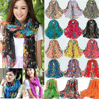 Best Women Long Print Cotton Scarf Wrap Ladies Shawl Girls Large Silk Scarves