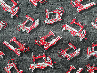 Antique Sewing Machines Red Black Sewing Items Cotton Fabric Fq