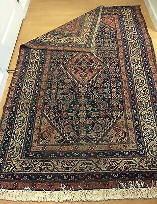 6X4 Hand Knotted Antique Woven Persian Hamadan Area Rug Carpet Brown Accents