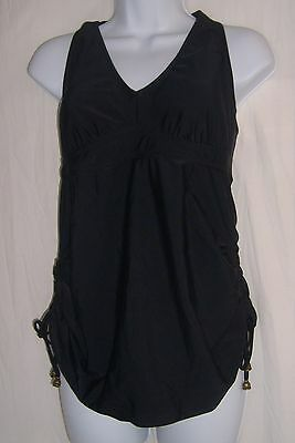 Liz Lange Maternity Size S Black One Peice Halter Swim Suit w/Side Ruching