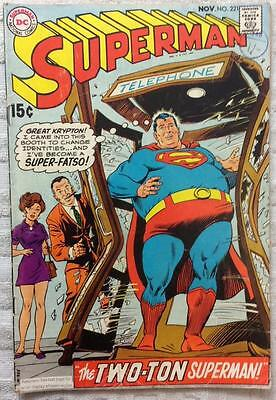 Superman #221 (1969 DC 1st series) VG/FN condition 47 yrs old Silver Age