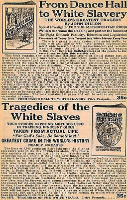 1929 small Print Ad From Dance Hall to White Slavery & Tragedies of White Slaves