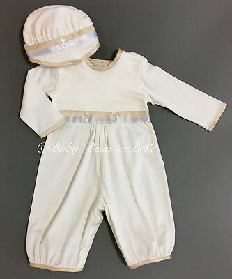 Baby Beau and Belle Jake boys christening and baptism cotton jumpsuit set