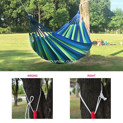 Double Large Swing Hammock Canvas Camping Hang Bed Garden Outdoor Travel Beach