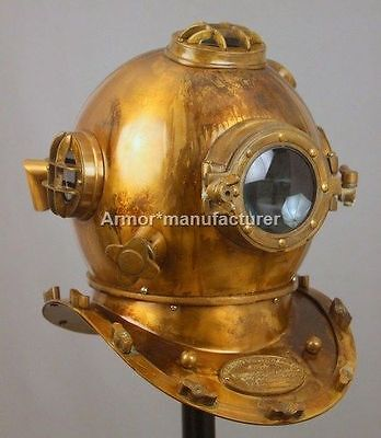 Antique US navy Boston Diving Divers Helmet Full 18 Inch Deep Sea Scuba Gift