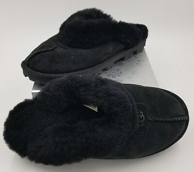 UGG COQUETTE Black Suede Leather Sheepskin Slippers House Shoes Womens 8 #5125