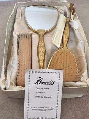 """VINTAGE grooming Set: """"Rondis"""" Hair Brushes, Comb And Mirror"""