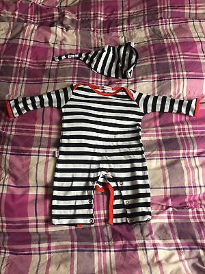 Baby Boy Outfit Oh Baby London Black White Striped With Hat 0-3 Months Sleepsuit