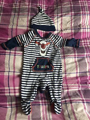 Baby Boys George Tigger Sleepsuit And Hat Stripes Navy 0-3 Months Nightwear