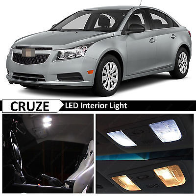 9pcs 2011-2014 Chevy Cruze White Interior + License Plate LED Lights Package Kit