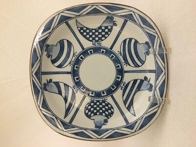 ANDREA by Sadek Blue and White Country Chicken Birds Square Decorative Plate