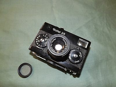 ROLLEI 35 Black Camera Tessar Parts Repair -With Skylight! - See Description