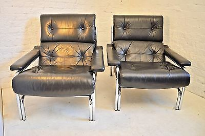 A Pair Of Leather And Chrome Vintage Mid Century Armchairs By Pieff