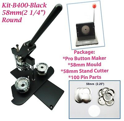 """(KIT)58mm(2 1/4"""")PRO BADGE MACHINE BUTTON MAKER-B400+MOULD+100PARTS+STAND CUTTER"""