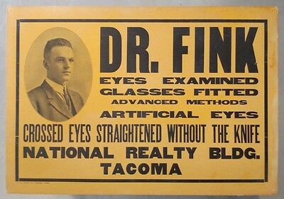 Antique Dr. Fink Optometrist trade sign, CROSSED EYES FIXED, not advertising