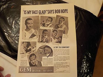 Vintage Advertisement For Gem Razorts And Blades Featuring Bob Hope 1937