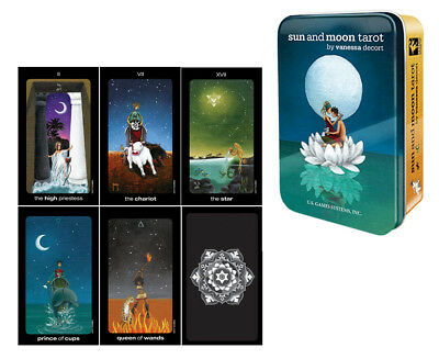 Sun and Moon Tarot in a Tin Case Pocket Size Cards Deck by Vanessa Decort