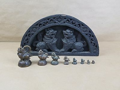 Bronze Birds OPIUM WEIGHTS Set of 8 Antique 19th C. W/ CARVED SHOU SUGI BAN BOX