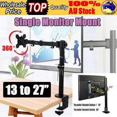 "13-27"" Single HD LCD Monitor Swivel Arm Tilt VESA Mount Bracket Desk Clamp Stand"