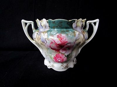 """RS Prussia Sugar Bowl ~ Pink Roses and Purple Iris ~ No Lid ~ 3.25"""" tall"""