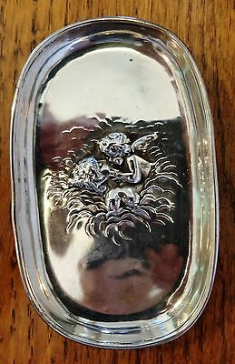 Unger Brothers Sterling Silver Nouveau Cupid Kissing Bare Breast Lady Card Tray